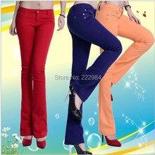 Осень-зима, модные повседневные хлопковые растягивающиеся брюки ярких цветов для женщин и девочек, удлиненные слегка расклешенные брюки, одежда