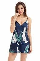 Plus Size Summer Mini Dresses Deep V Neck Sexy Spaghetti Strap Dresses White Black Plant Print