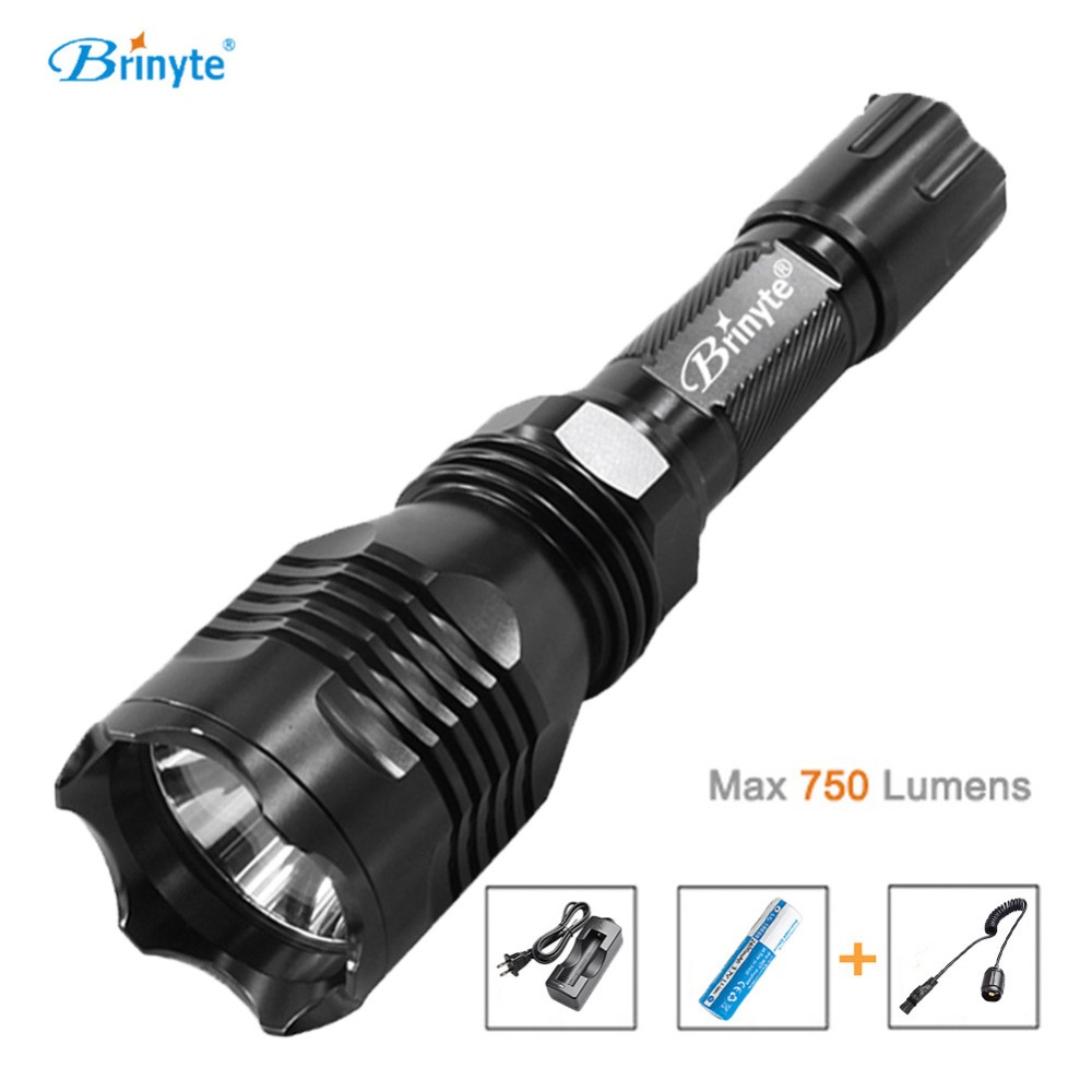 Brinyte B58 Night Hunting Flash Light White Red Green 1 Mode CREE XM-L2(U4) LED Remote Control Flashlight 18650 Battery brinyte b58u best cree xm l2 3 colors beam led hunting flashlight torch with red green white module remote switch and gun mount