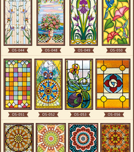 new styles Custom electrostatic frosted stained glass window film, PVC self-adhesive films,church home foil stickers