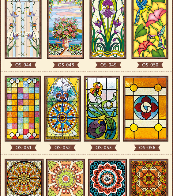 New styles custom electrostatic frosted stained glass for Decorative window glass types