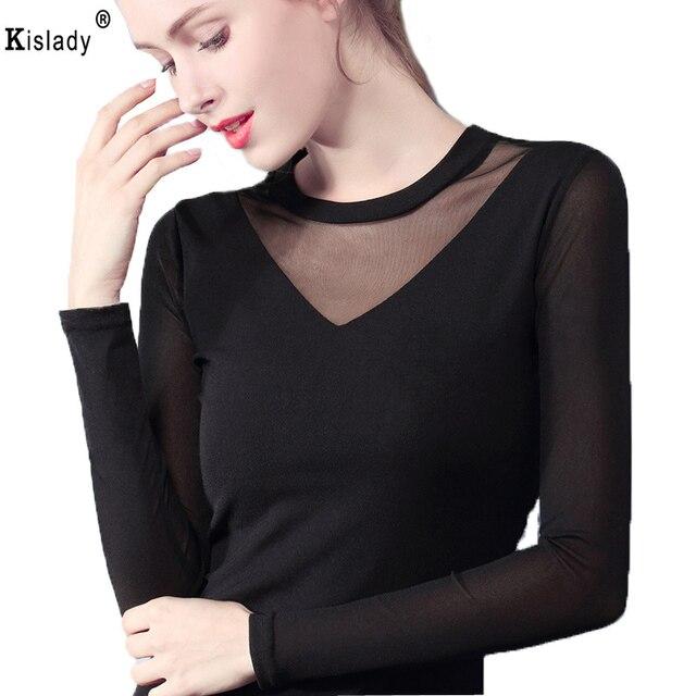 bef589e8f65 Kislady 2018 Spring Summer Autmn Female V-neck Transparent Mesh Tops Black  White Plus Sizes Bottom Shirt Elegant OL Party Tshirt
