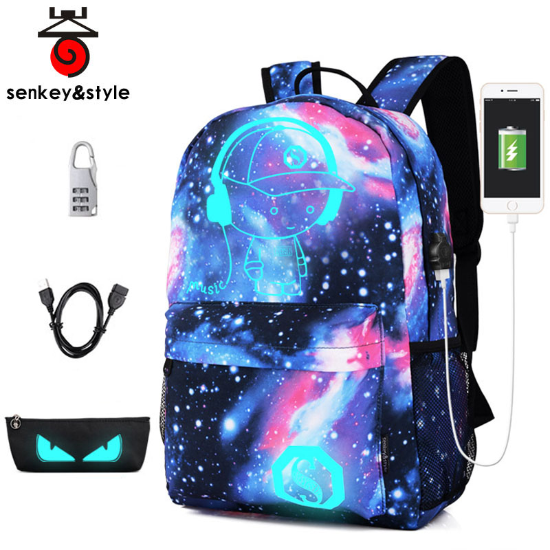 2018 New Children Backpack with USB Charging Port and Lock Boy Girls School Backpack Primary Middle School Bag Luminous Printing namvitae cute printing cartoon school bags fashion children usb charging backpack for teenager luminous backpack mochila escolar