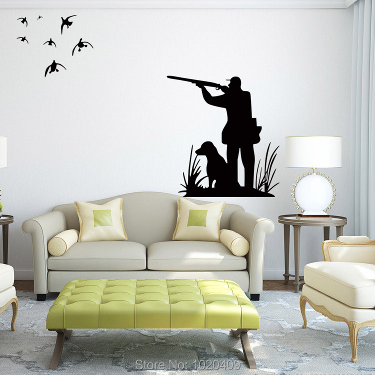 Exclusive Direct wall sticker Home Furnishing decorative Hunting bird hunters Figure silhouette PVC wallpaper children room 4012