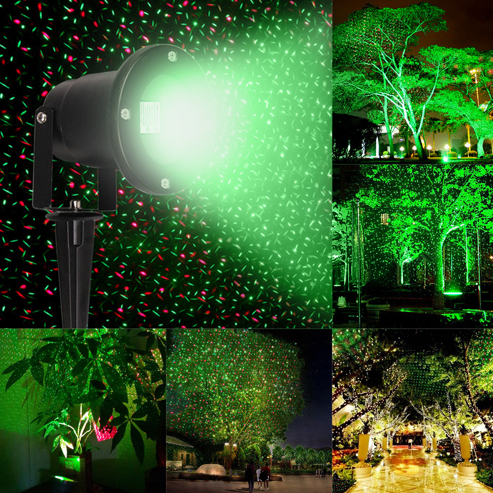 R&G 110-265V Laser Stage Light Waterproof Outdoor Tree Garden Xmas Laser Projector Star Patterns Moving Landscape Light UK Plug