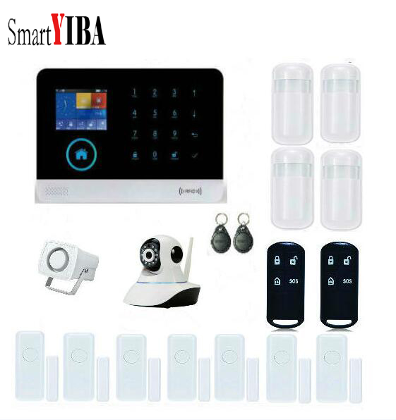 SmartYIBA Wireless GSM Alarm System Russian/English/Spanish/French/German/Polish Voice Home Security Alarm System+IP Camera