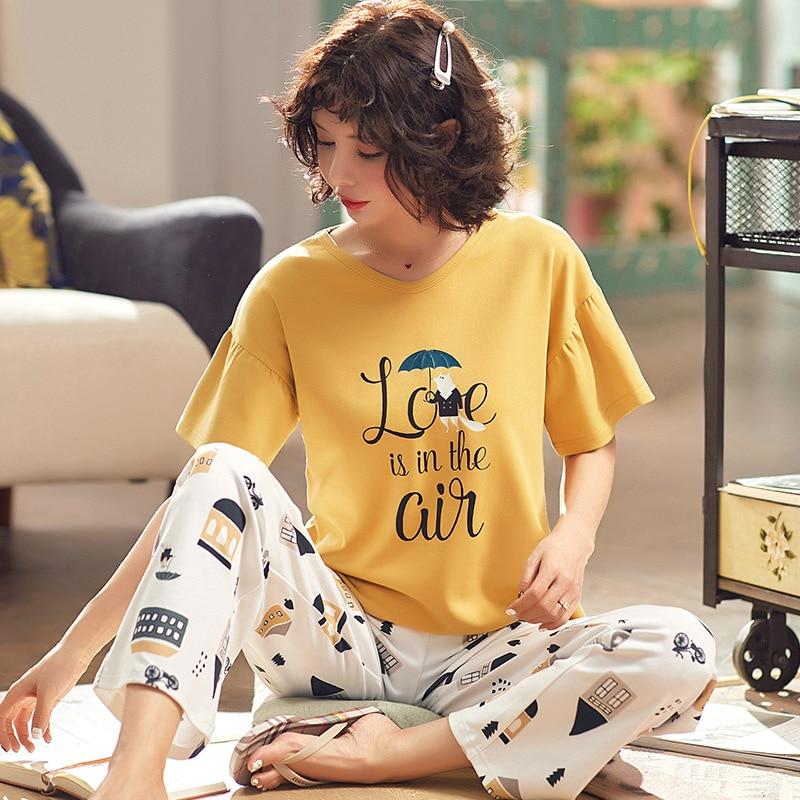 SP&CITY 2 PCS Japan Style Cartoon   Pajamas     Set   Women Summer Ruffle Patchwork Sleeve Home   Set   Sweet Round Neck Nightwear Suit