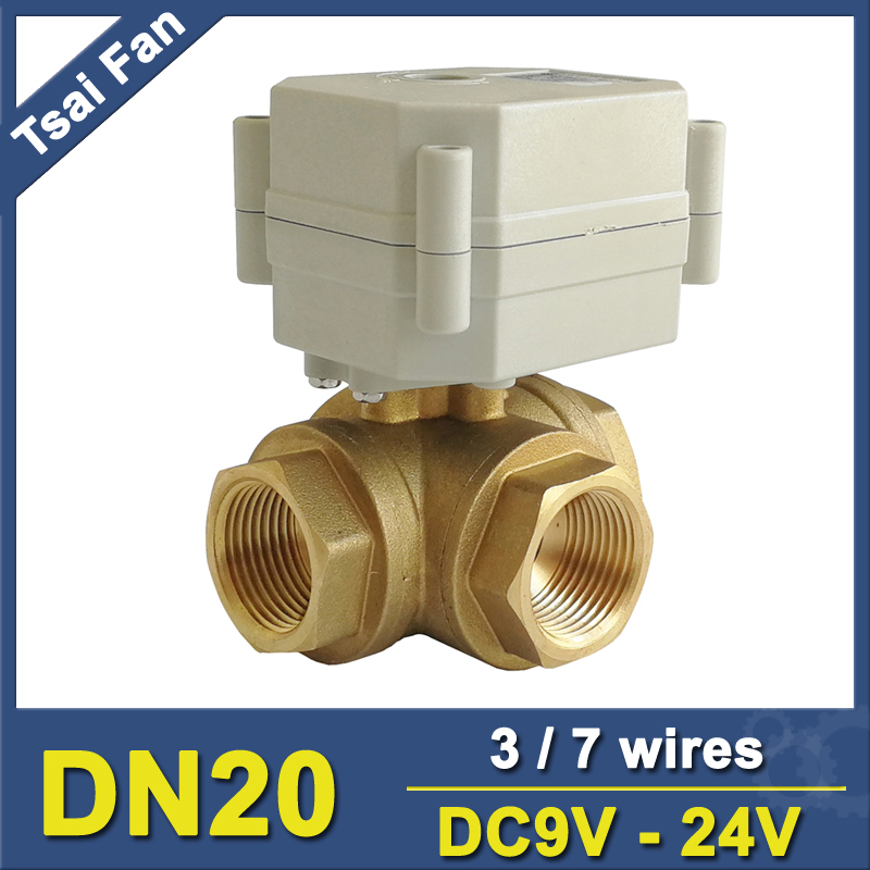 TF20 BH3 C 3 Way T/L Type Brass 3/4'' DN20 Horizontal Electric Shut Off Valve DC9V DC35V Metal Gear CE/IP67 For Water Control