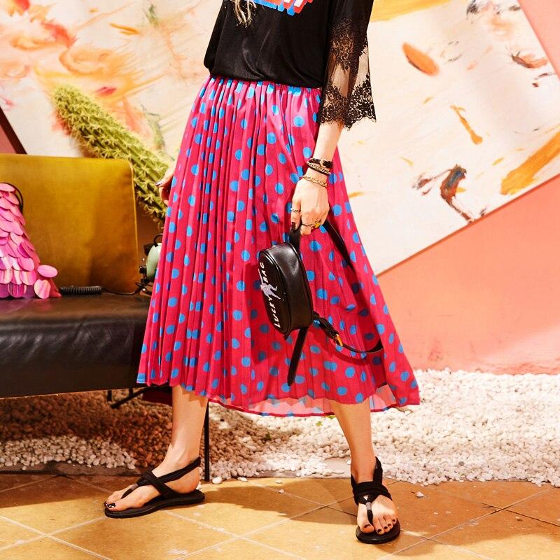 ELFSACK Women Vintage Dot Print Straight Skirt New Summer Design Ladies Casual Knee-Length Female Casul Ladies Skirts