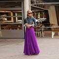 England Style Purple Pleat Long Chiffon Skirt For Women Fashion Skirt Elastic Style Custom Made Floor Length Women Clothing