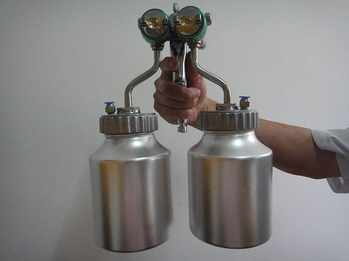 SAT1200 topeltdüüsiga pihustuspüstol matt-matt-autovärvi - Elektrilised tööriistad - Foto 3