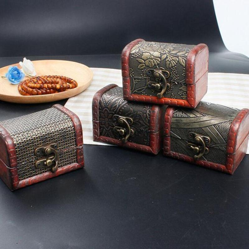 Vintage Jewelry Box Organizer Storage Case Mini Wood Flower Pattern Metal Lock Container Handmade Wooden Small Boxes L40