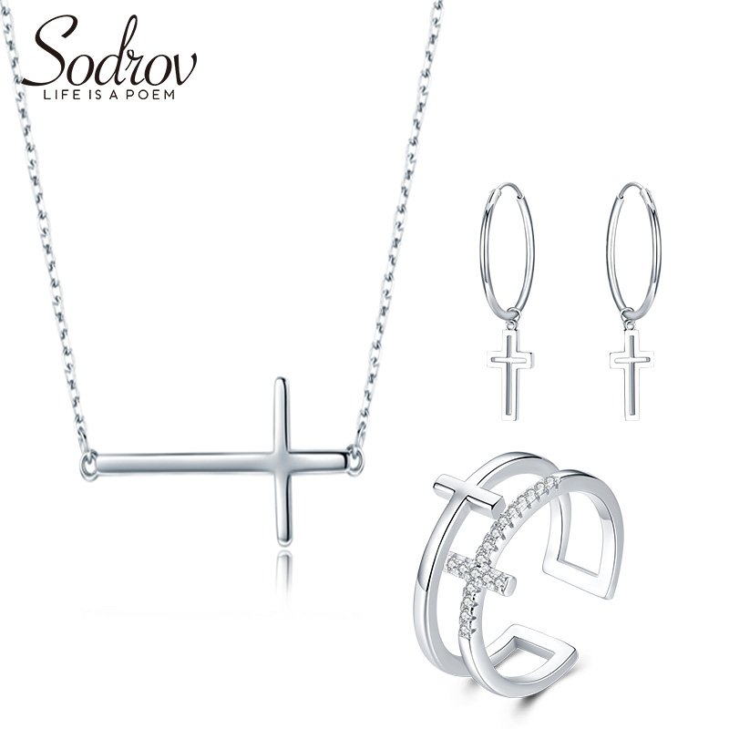 Sodrov Cross 925 Sterling Silver Fine Jewelry Sets For Women Engagement Wedding Ring Necklace Earrings