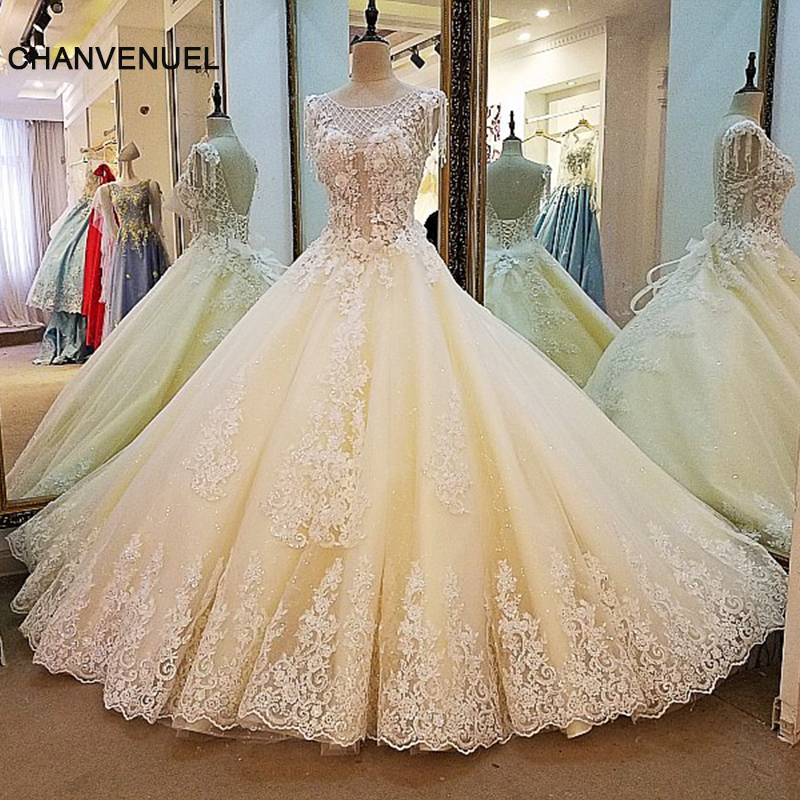 Champagne Ball Gown Wedding Dresses: LS0004 Champagne Wedding Dress Ball Gown Coset Back