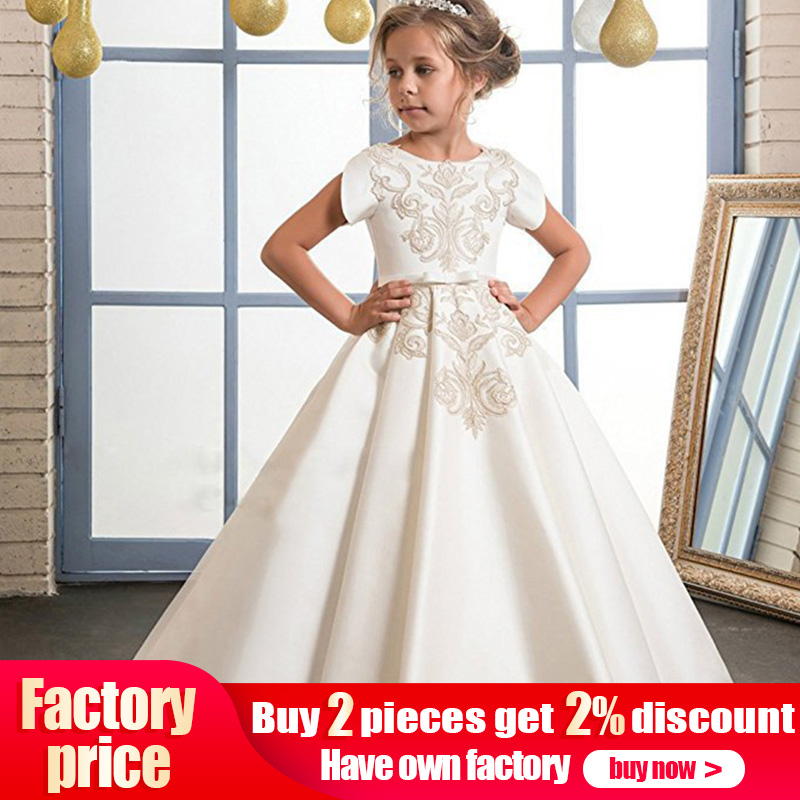 Children's long party   dress     flower     girl     dress   kids wedding first communion princess   dress   baby costume clothing vestido comunion