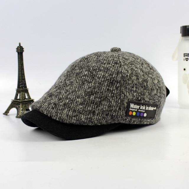 cda339086 US $12.75 |2016 new male flat cap leisure men newsboy hat winter chapeau  gentleman Knitting wool beret autumn bone sale Retro plaid-in Berets from  ...