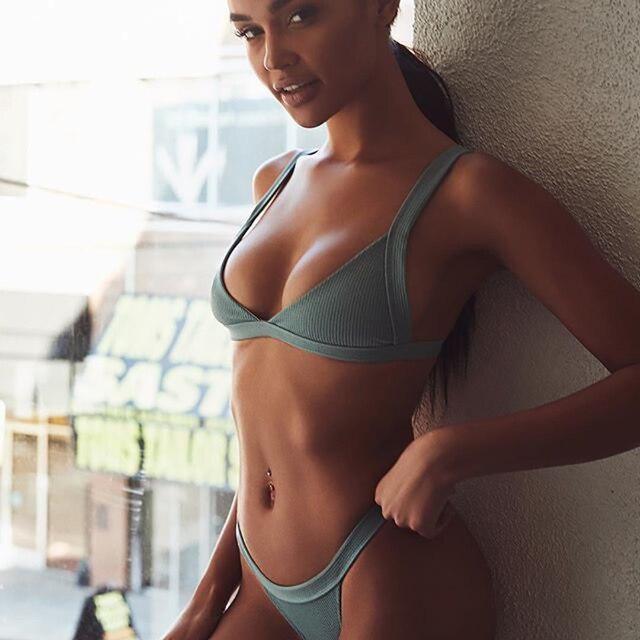 a2b6a95710 2018 Solid Mini Thong Bikinis Sets Brazil Bikini Sexy Women Swimsuit Low  Waist Bathing Suits Female