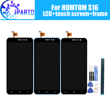 HOMTOM S16 شاشة الكريستال السائل شاشة تعمل باللمس الإطار الجمعية 100% الأصلي LCD محول الأرقام زجاج لوحة ل HOMTOM S16 أدوات