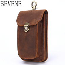 SEVENE Waist Bag NEW Genuine Leather Vintage Waist Packs Men Travel Fanny Pack Belt Loops Hip Bum Bag  Mobile Phone Pouch цены онлайн
