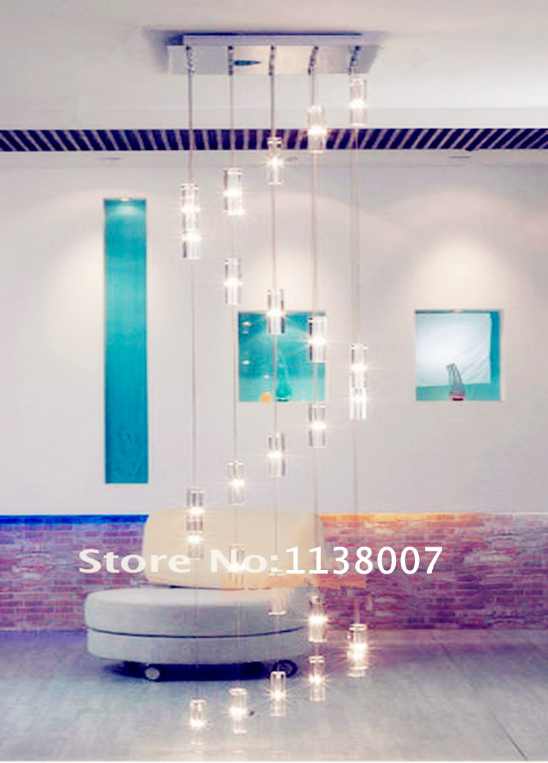 Modern 20 pcs G4 led staircase chandelier fixture hotel Spiral Crystal lighting lamps square stairwell lighting led candelabro|light cooling|lighting conventions|light h7 - title=