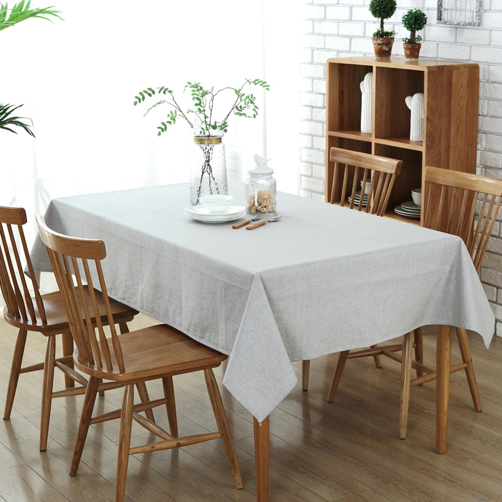 Home Dining Banquet Rectangular Solid Color Cotton Linen Tablecloth Waterproof Table CoverChina Mainland