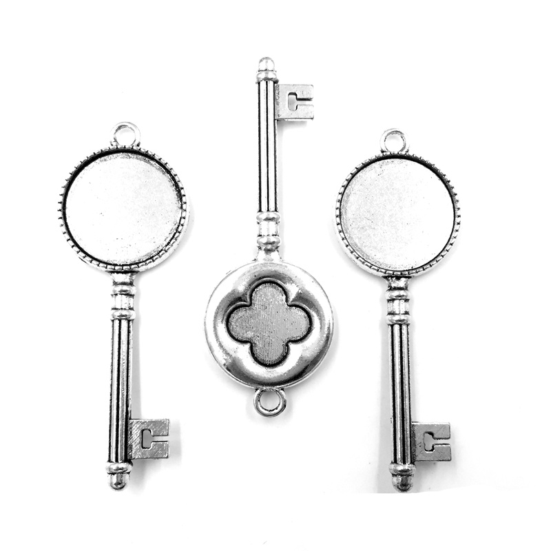 5Pcs Pendants Jewelry DIY Finding Antique Silver Tone Key Flower Pattern Charm 62x22mm Round Cameo Setting Fit Cabochon 20mm