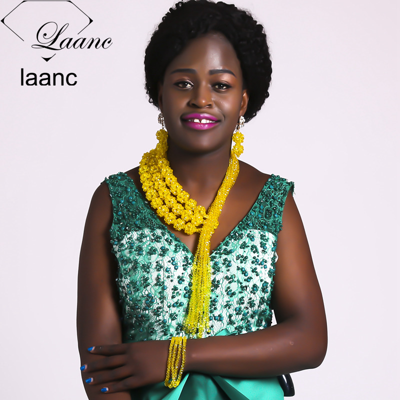 Laanc Nigerian Jewellery Set for Women Costume African Beads Jewelry Set Crystal Yellow Necklace AL438Laanc Nigerian Jewellery Set for Women Costume African Beads Jewelry Set Crystal Yellow Necklace AL438