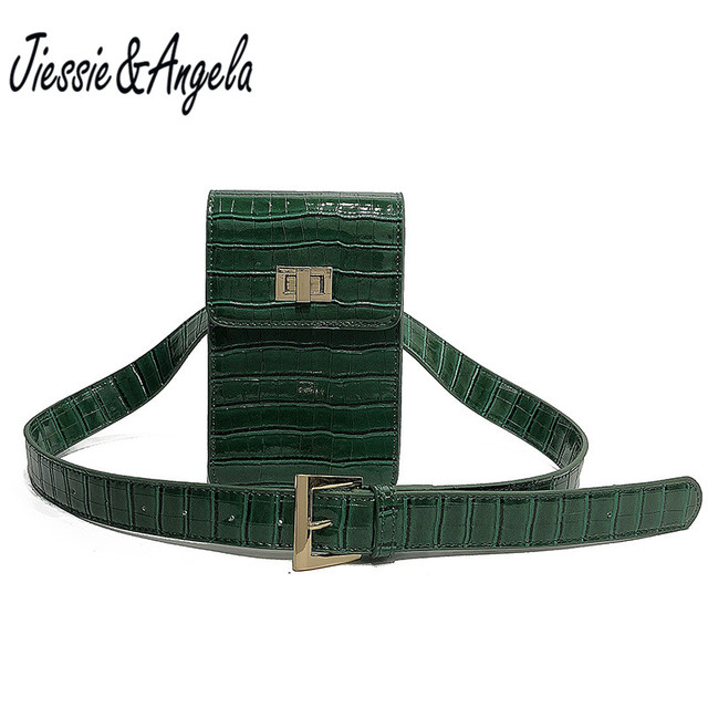 Jiessie & Angela luxury brand designer leather vintage fanny pack fashion women bag lady's belt waist bags waist pack bolosa
