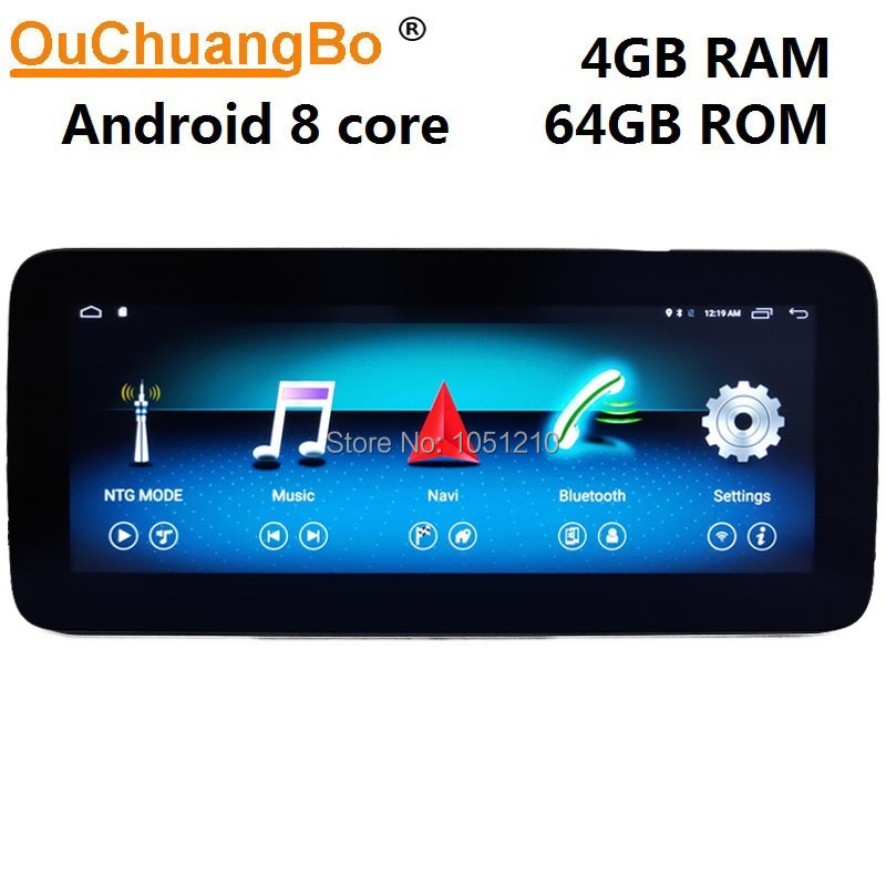 Ouchuangbo gps radio recorder for Mercedes Benz C class 230 300 <font><b>W204</b></font> 2008-2014 with <font><b>Android</b></font> 9.0 system 4+64GB <font><b>RHD</b></font> Right driving image
