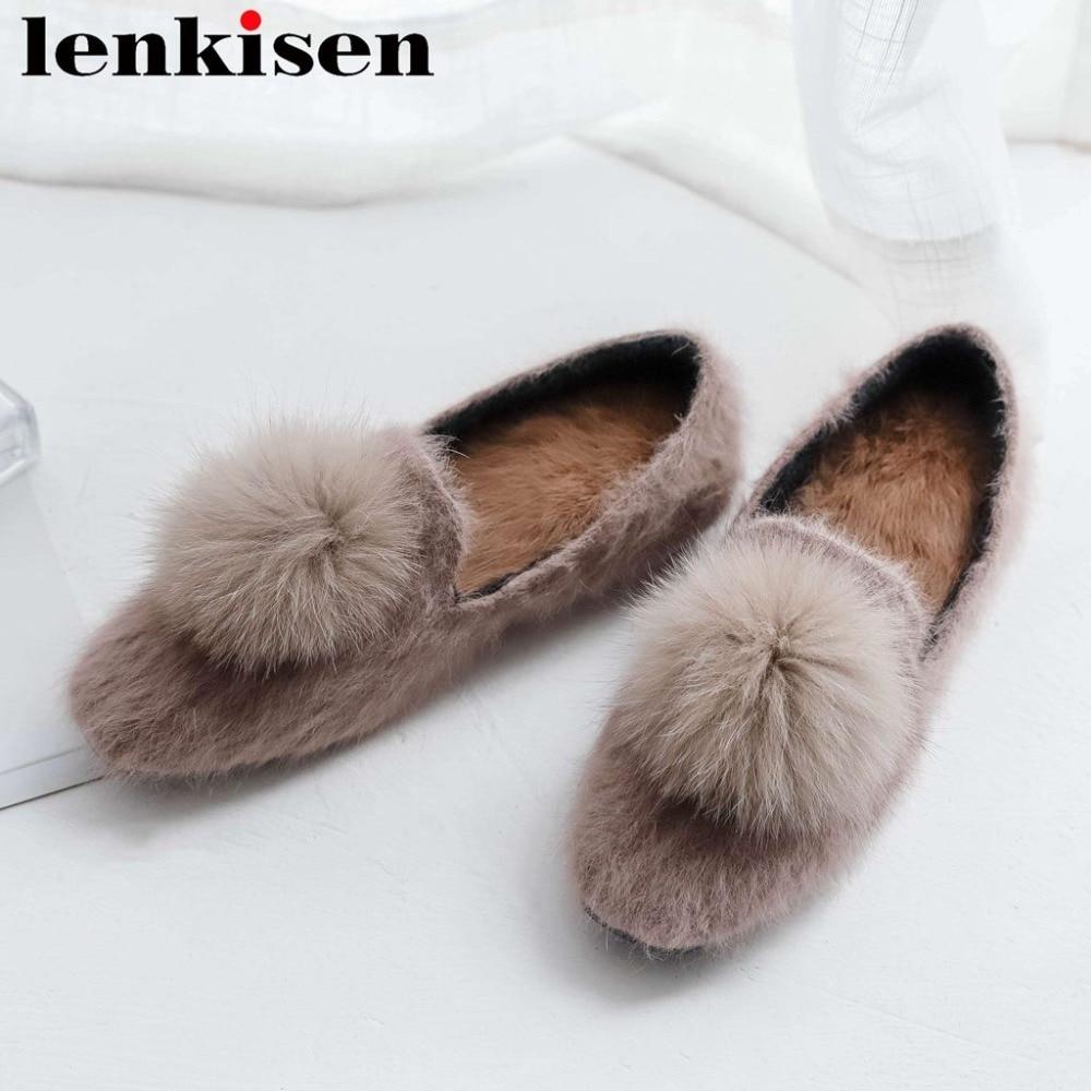 Pumps Office-Ladt Lazy-Woman Large-Size Luxury Design Soft Fur L81 Mink-Fur Movie-Stars