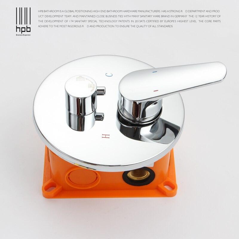 HPB robinets de douche ronds boîte de douche mitigeur Chrome poli caché soupape boîte robinet pièces de rechange valvula J8007