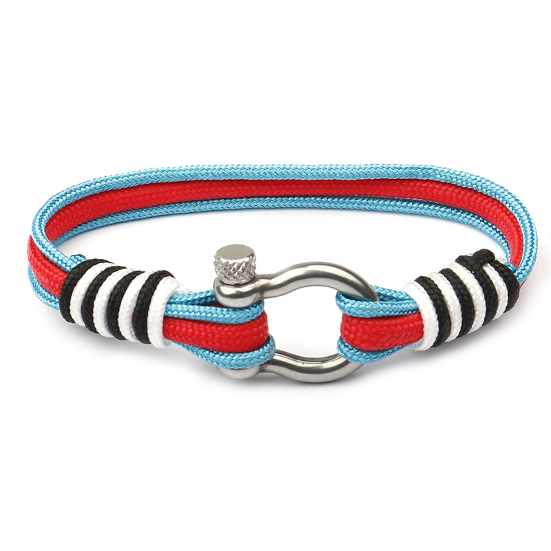 NIUYITID New Stainless Steel Buckle Nautical Survival Rope Chain Bracelet Men Sport Camping Parachute Braclet Female Jewelry (1)