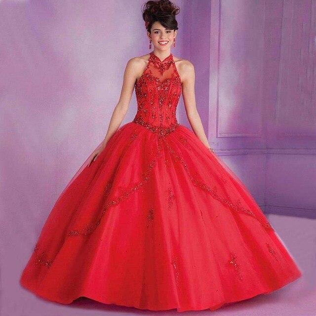 090ca6dab4 Sweet 16 princesa azul quinceanera vestidos de bola de mascarada vestidos  de cuello alto crystal champagne