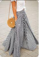 Women Vintage Plaid High Waist Swing Pocket Zipper A Line Spring Summer Autumn Cotton Floor