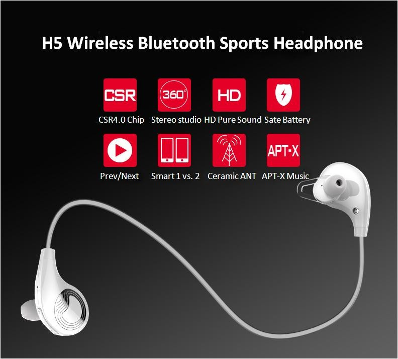 Zealot H5 Sports Earphones Stereo Bluetooth 2015 Headset CSR4.0 Rechargeable Battery Wireless audifonos headphones hifi with Mic