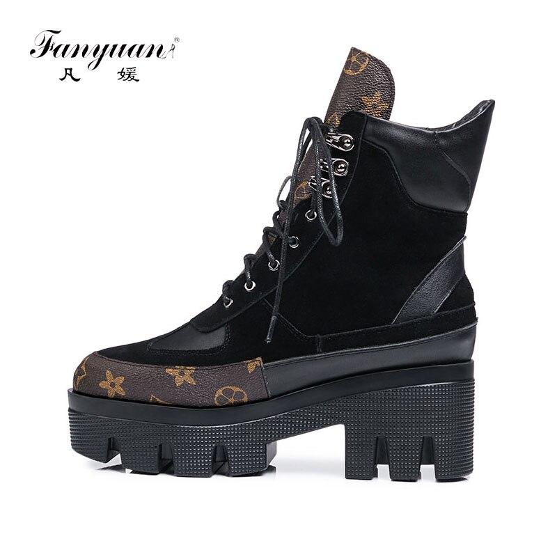 Fanyuan marque design vache daim véritable cuir grande taille 42 martin bottes femme loisirs défilé de mode femmes chaussures bottes