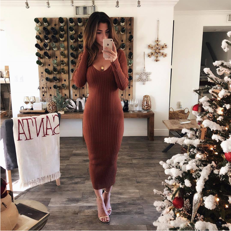 2018 Women's Autumn Spring Dresses Robe Sexy V neck Midi Sheath Slim Bodycon Dress Long Sleeve Elegant Package Hip Dress
