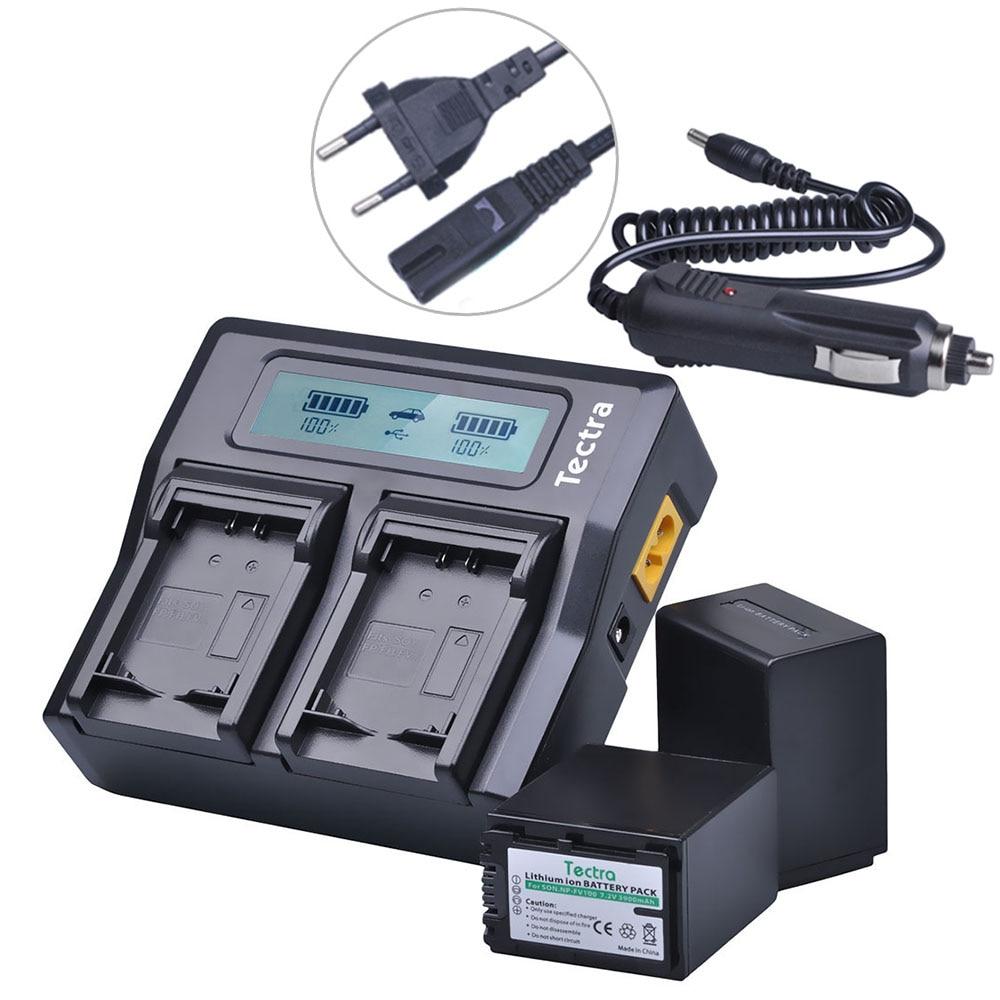 Tectra 2pcs NP-FV100 NP FV100 Camera Battery + LCD Rapid Dual Charger for Sony NP-FH30 NP-FH40 NP-FH50 NP-FH60 NP-FH70 NP-FH90 lts25 np