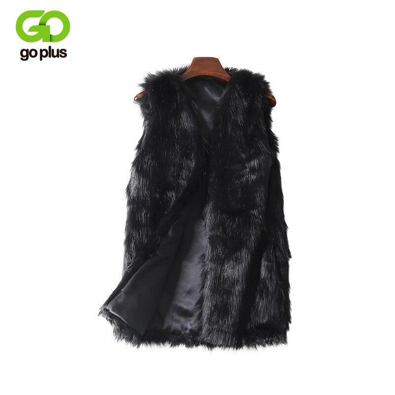 Goplus imitação de pele casacos colete plus size inverno feminino colete de pele do falso grosso quente superior artificial colete de pele feminino
