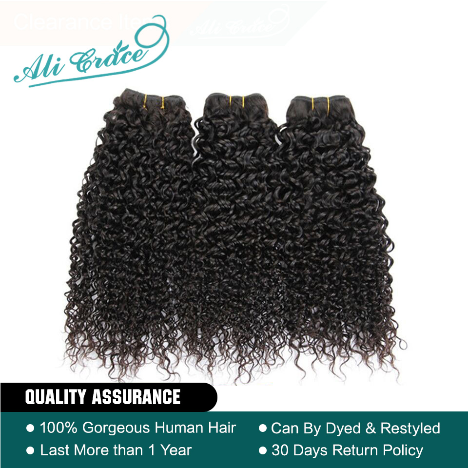 Curly Weave Hair-Bundles Ali-Grace Human Natural-Black 10-28inch 100%Remy And 3 Brazilian