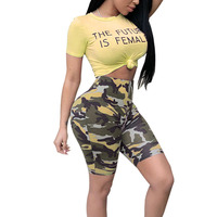 Summer Women's Casual Short Sleeve Cute Sweet Letter Print Crop Top Camouflage Knee Length Camo Pant Two Piece Set S-XXL QM 3450