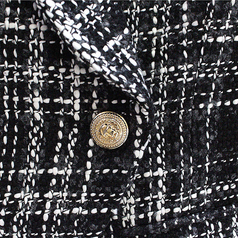 HIGH QUALITY Newest Fashion 2018 Designer Blazer Jacket Womens Double Breasted Lion Metal Buttons Plaid Tweed Wool Blazer Coat