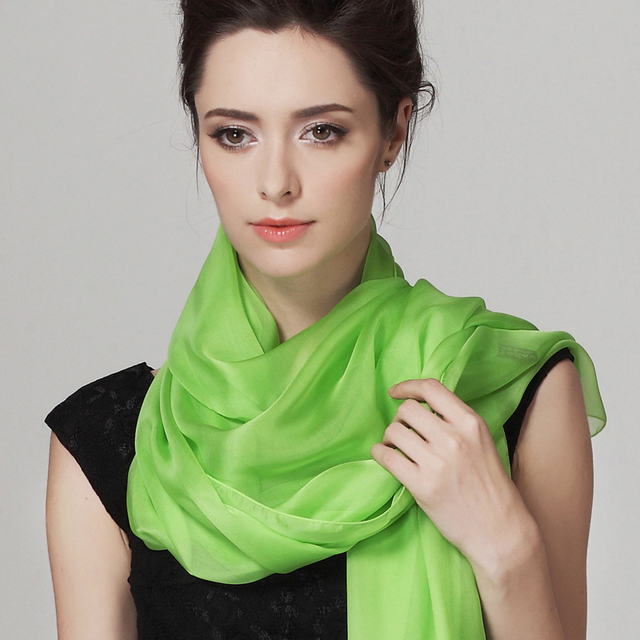 Mulberry Silk Long Scarves Wraps 2016 Design Brand Ladies Silk Shawl Scarves Spring Autumn New Arrival Chiffon Scarf Fruit Green