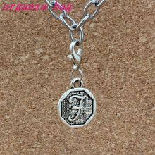 50pcs Letter Disc  F Initial Floating Lobster Clasps Charm Beads Fit Bracelet DIY Jewelry Antique Silver 14.8x32.5mm