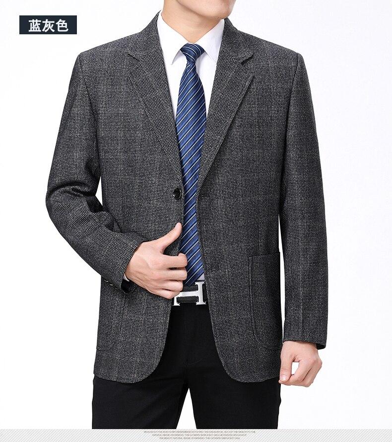 WAEOLSA Mature Men Business Casual Blazers Coffee Gray Texture Suit Coat Man Classical Blazer Hombre Notched Collar Suit Jacket (8)