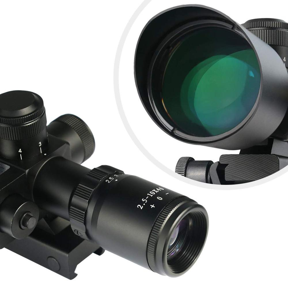 Image 5 - Mil Dot Reticle Sight Scope Hunting Riflescope 2.5 10 x 40E Times Zoom Laser Illuminated Tactical Rifle Scope 20mm Rail Mounts-in Riflescopes from Sports & Entertainment