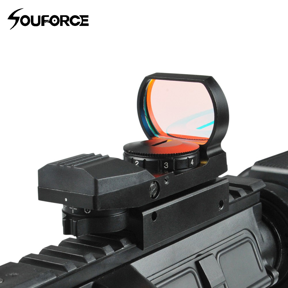New Arrival 1x22-33mm Multi 4 Reticle Electro Red Dot Sight Riflescope With Mount For 20mm Rail E