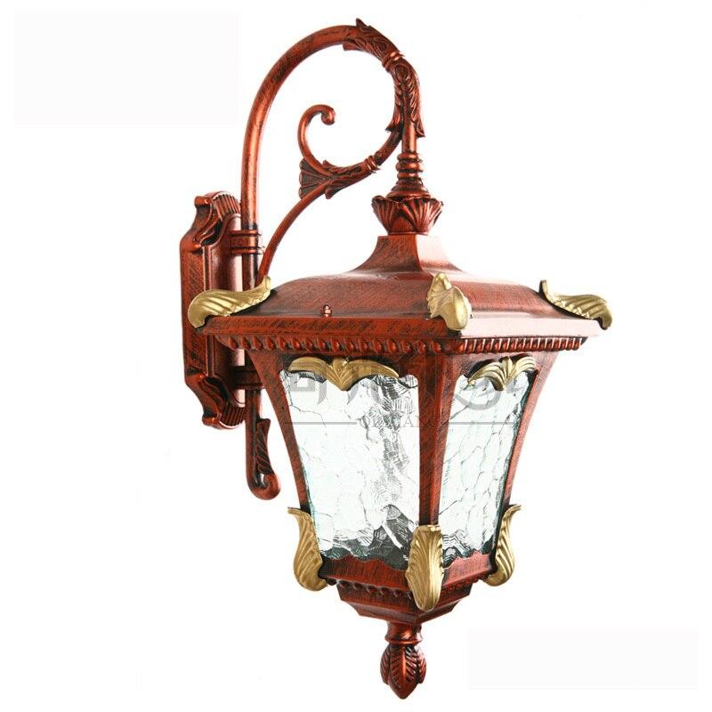 Luxul bronzului roșu Royal European Lampa de perete în aer liber Villa Peisaj impermeabil Coridor Coridor ușă dormitor dormitor perete Sconces