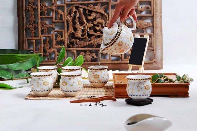 wholesale free shipping-Ceramic Porcelain Tea Set 1 teapot 6 cup