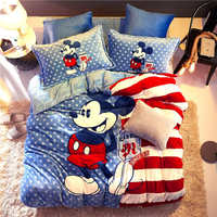Blue Flannel fleece Mickey Mouse comforter bedding sets for kids queen size quilt covers twin 3d full bed linens coverlet Boys